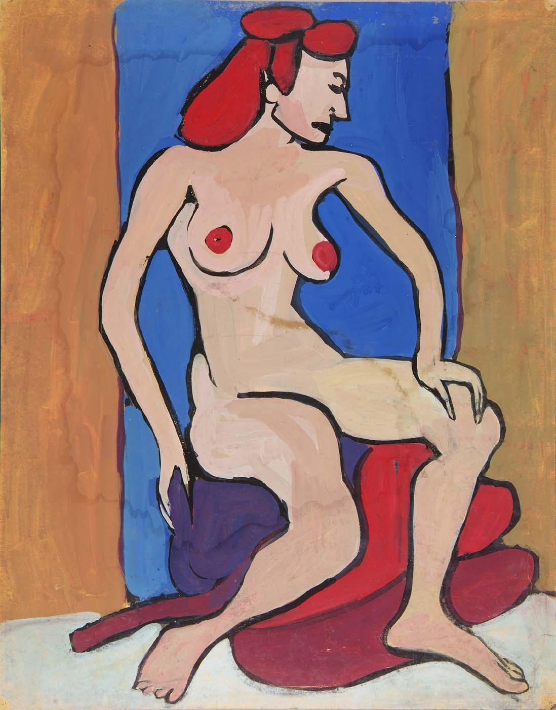 Female Nude with Red Hair Seated on Pillows - William H. Johnson
