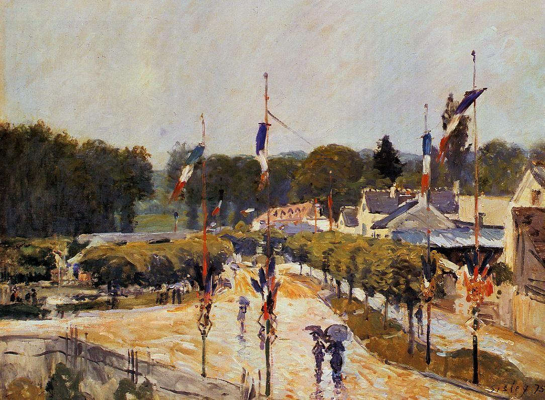 Fete Day at Marly le Roi (The Fourteenth of July at Marly le Roi) - Alfred Sisley