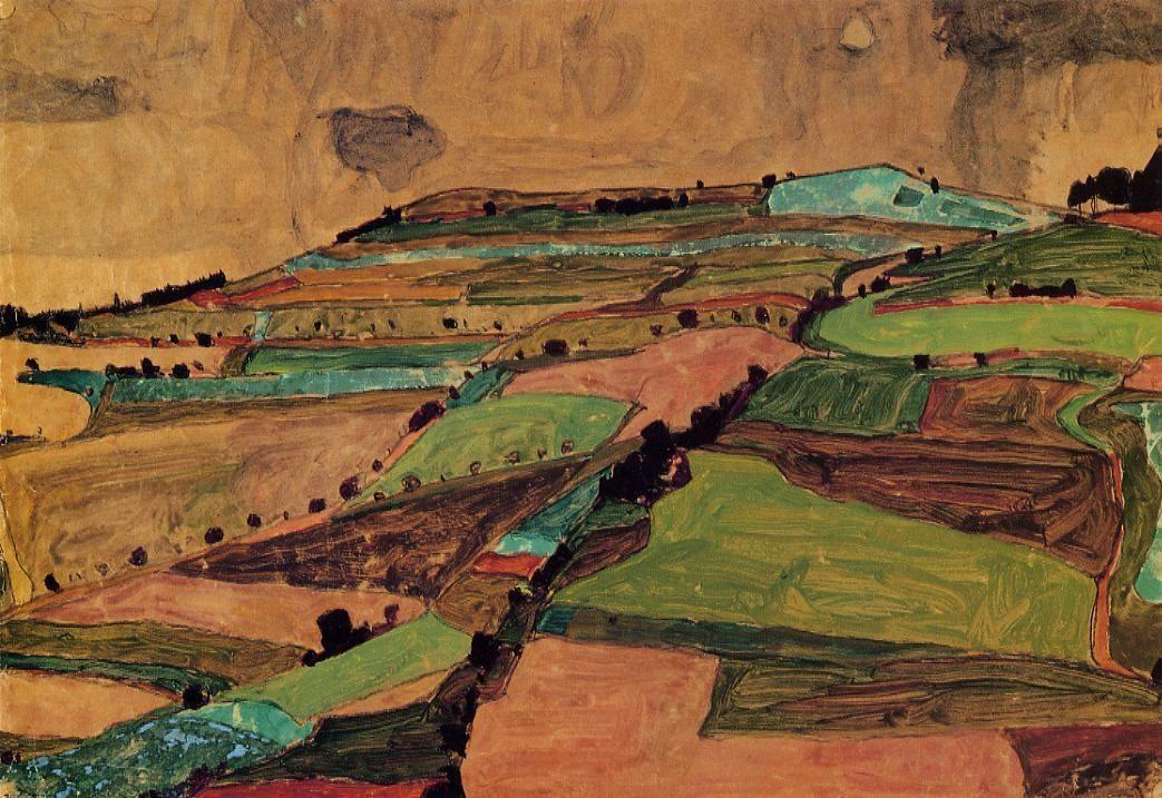 Field Landscape (Kreuzberg near Krumau) - Egon Schiele