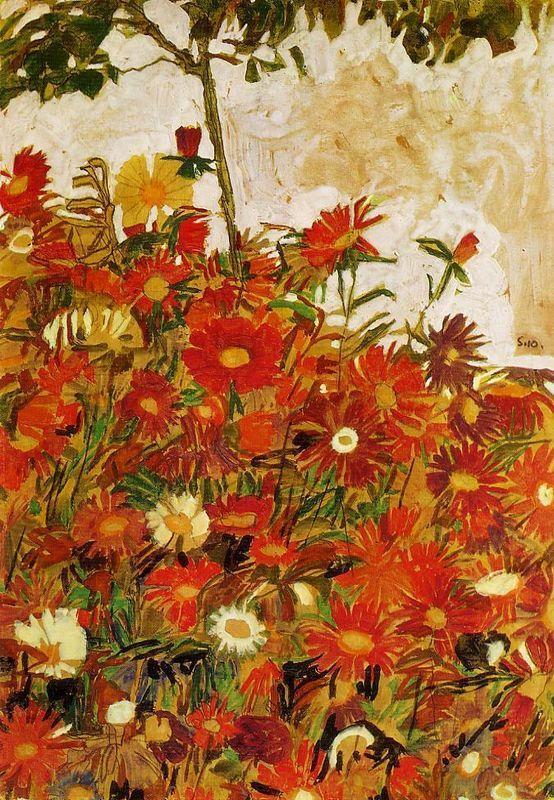 Field of Flowers - Egon Schiele