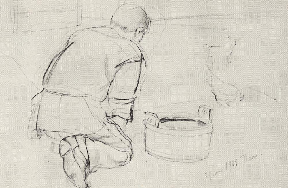 Figure  of S.F.Petrova-Vodkin, the artist's father, on his knees from the back - Kuzma Petrov-Vodkin