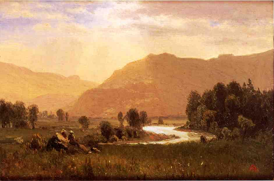 Figures in a Hudson River Landscape - Albert Bierstadt