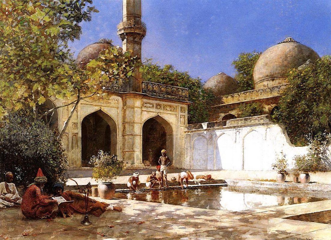 Figures in the Courtyard of a Mosque - Edwin Lord Weeks