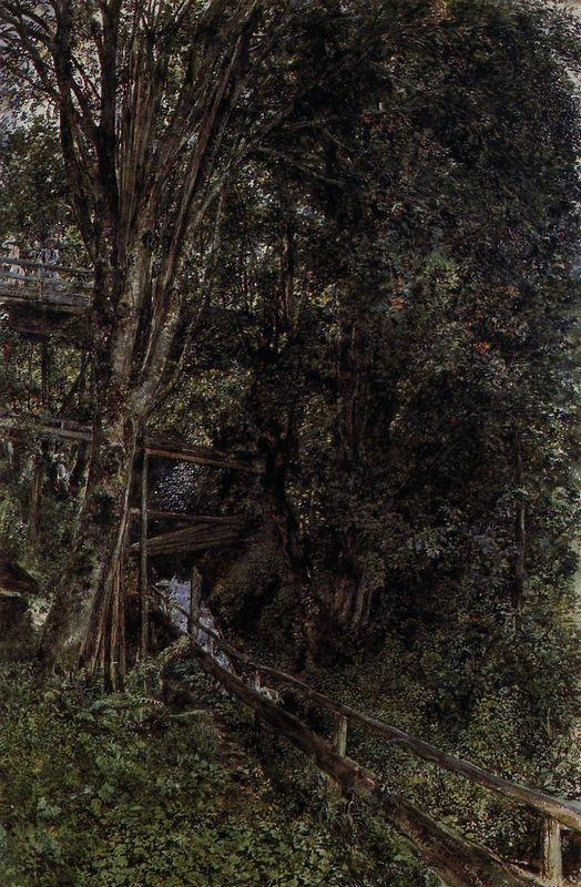 Figures on a Bridge over a Stream at Gastein - Rudolf von Alt