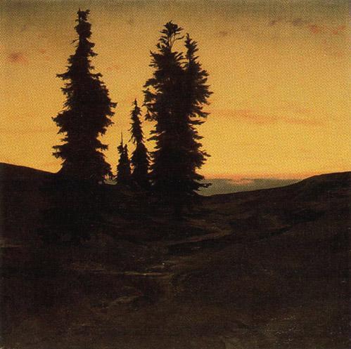 Fir trees at sunset - Arnold Bocklin