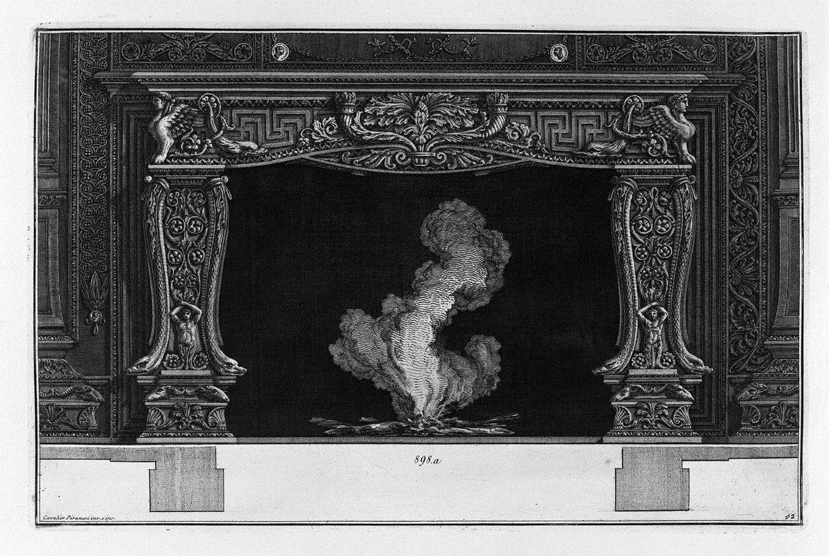 Fireplace: on the frieze of acanthus leaf between two horns, dolphins and sphinxes - Giovanni Battista Piranesi