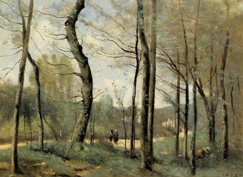 First Leaves, near Nantes - Camille Corot