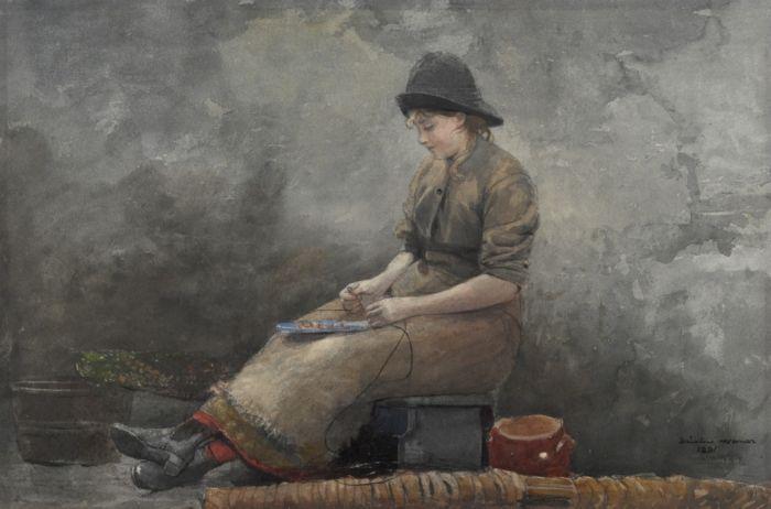 Fishergirl Baiting Lines - Winslow Homer