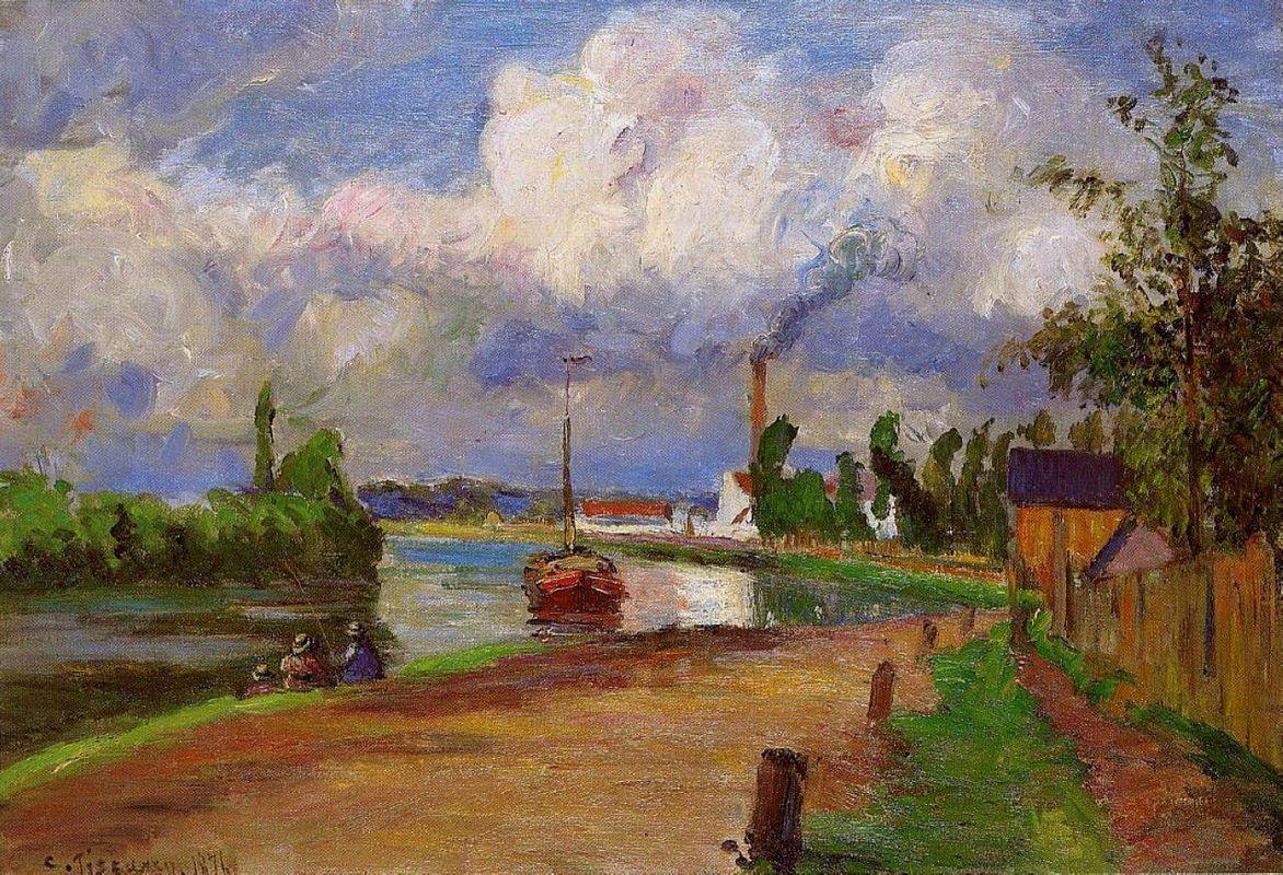 Fishermen on the Banks of the Oise - Camille Pissarro