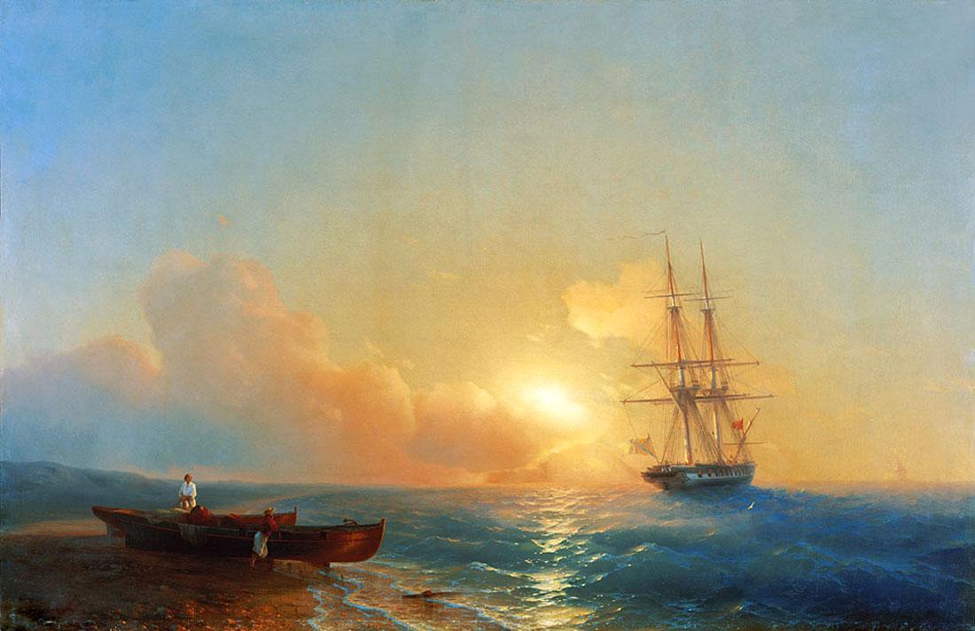 Fishermen on the coast of the sea - Ivan Aivazovsky