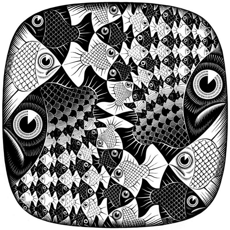 Fishes and Scales - M.C. Escher