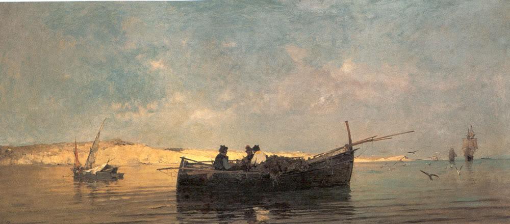 Fishing boat at dusk - Konstantinos Volanakis