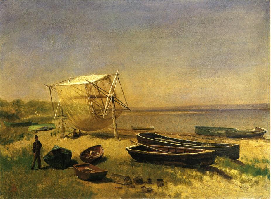 Fishing Station, Watch Hill - Albert Bierstadt