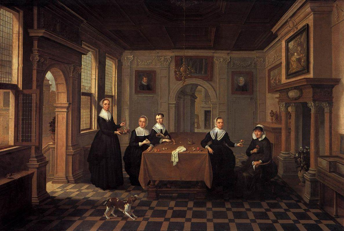 Five ladies in an interior.010 Alternate title(s)0 A Company in an Interior.020 - Esaias van de Velde