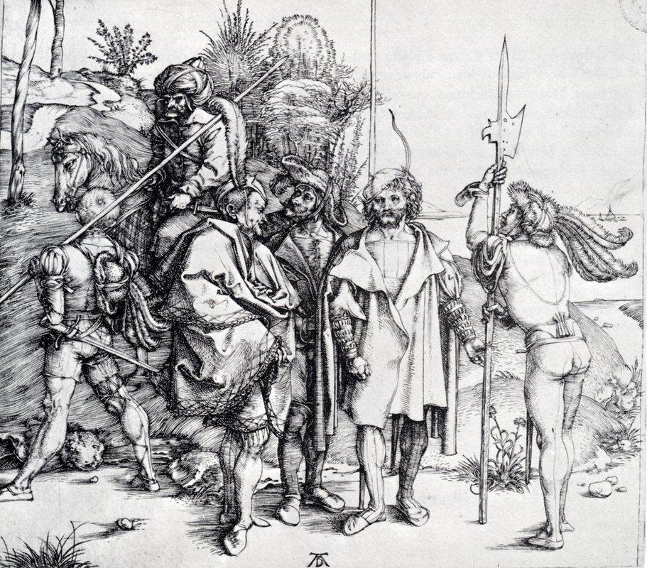 Five Lansquenets And An Oriental On Horseback - Albrecht Durer
