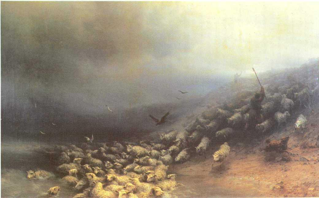 Flock of sheep at gale - Ivan Aivazovsky