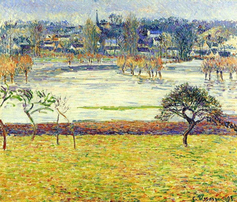 Flood, White Effect, Eragny - Camille Pissarro