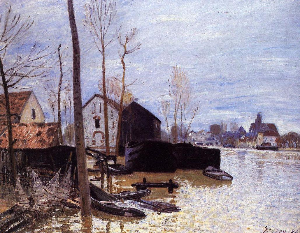 Flooding at Moret - Alfred Sisley