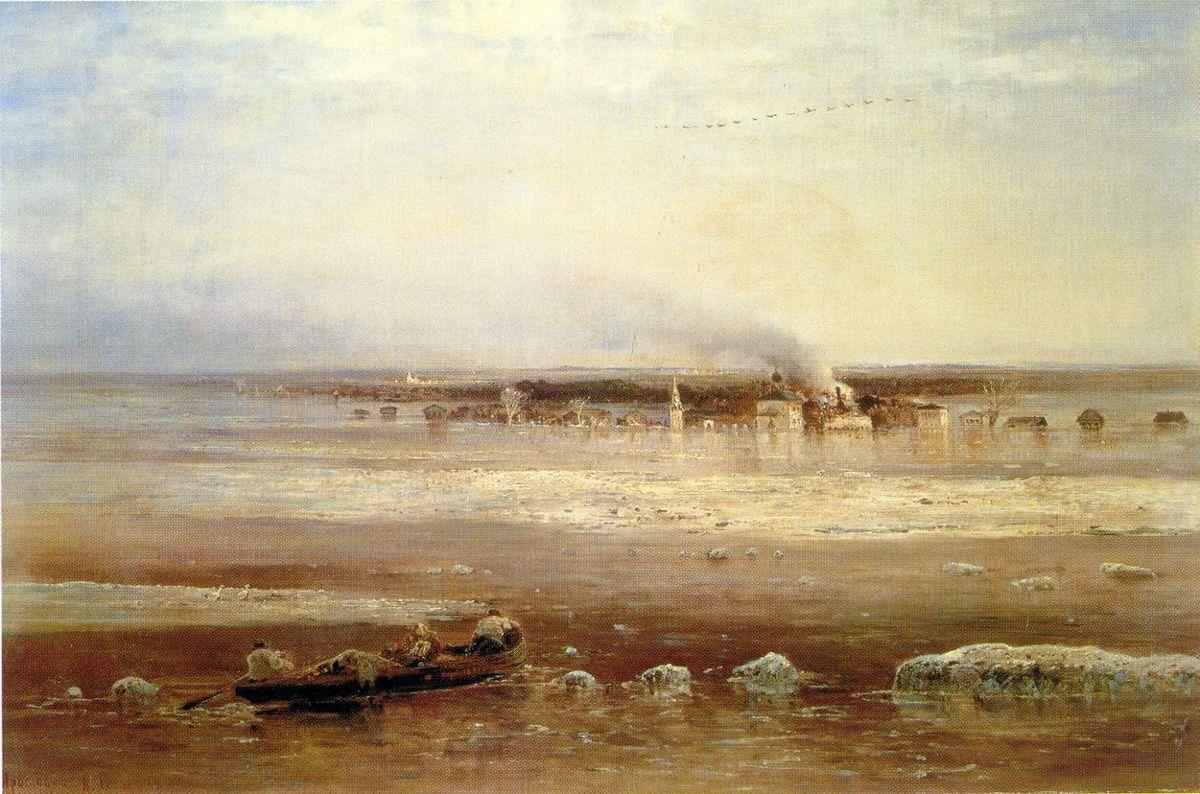 Flooding of the Volga river near Yaroslavl - Aleksey Savrasov