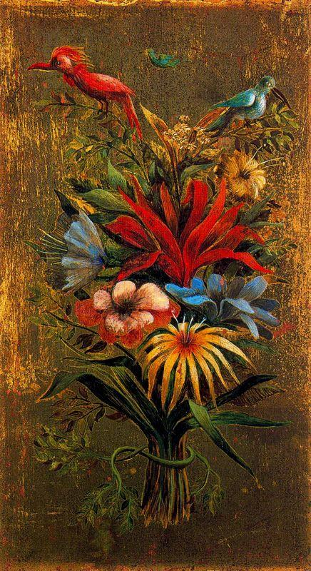 Floral bouquet with birds - Remedios Varo