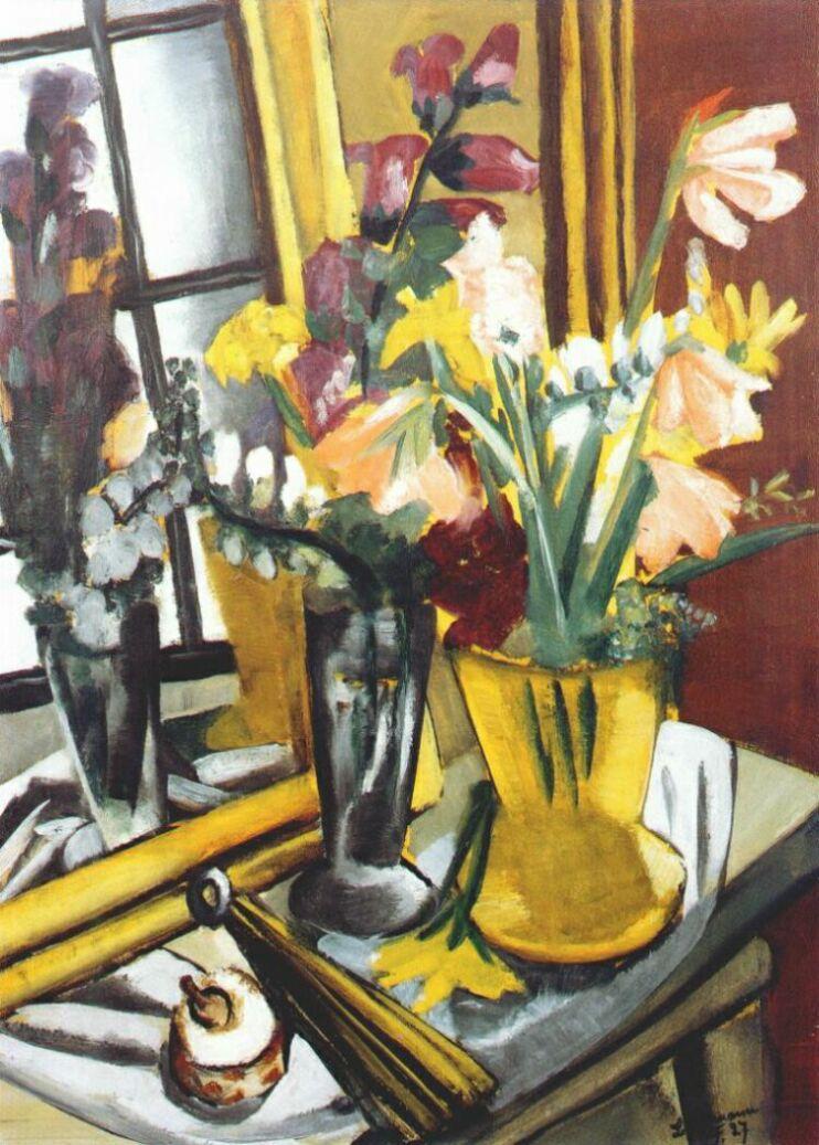 Floral still life with mirror - Max Beckmann