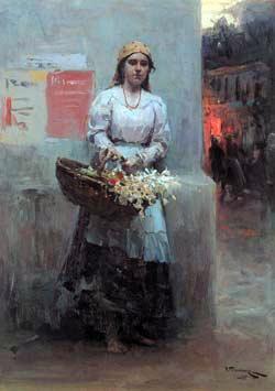 Flower-girl - Mykola Pymonenko