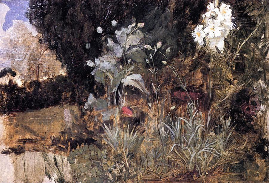 Flower Sketch for The Enchanted Garden - John William Waterhouse