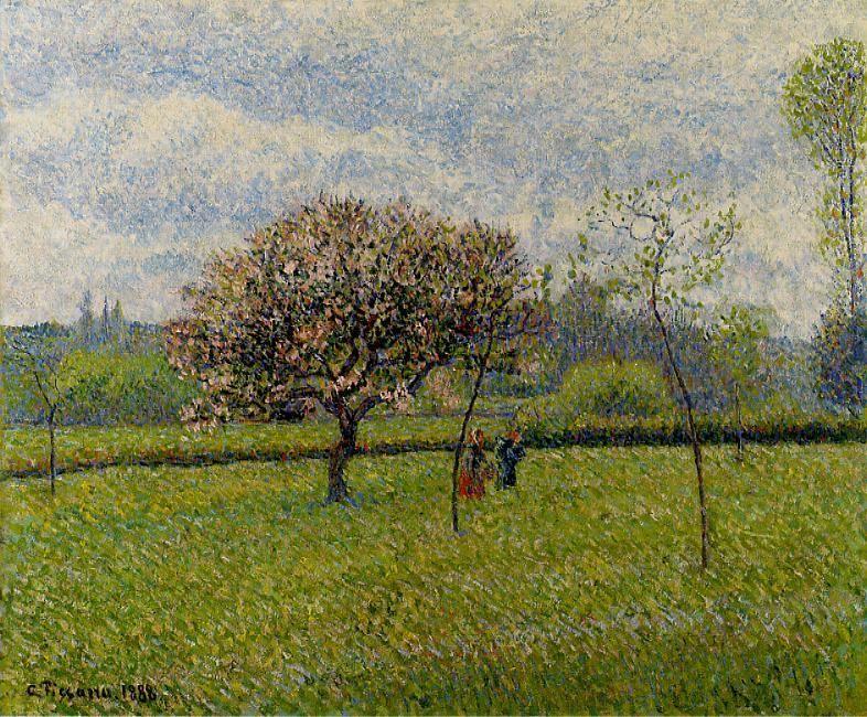 Flowering Apple Trees at Eragny - Camille Pissarro