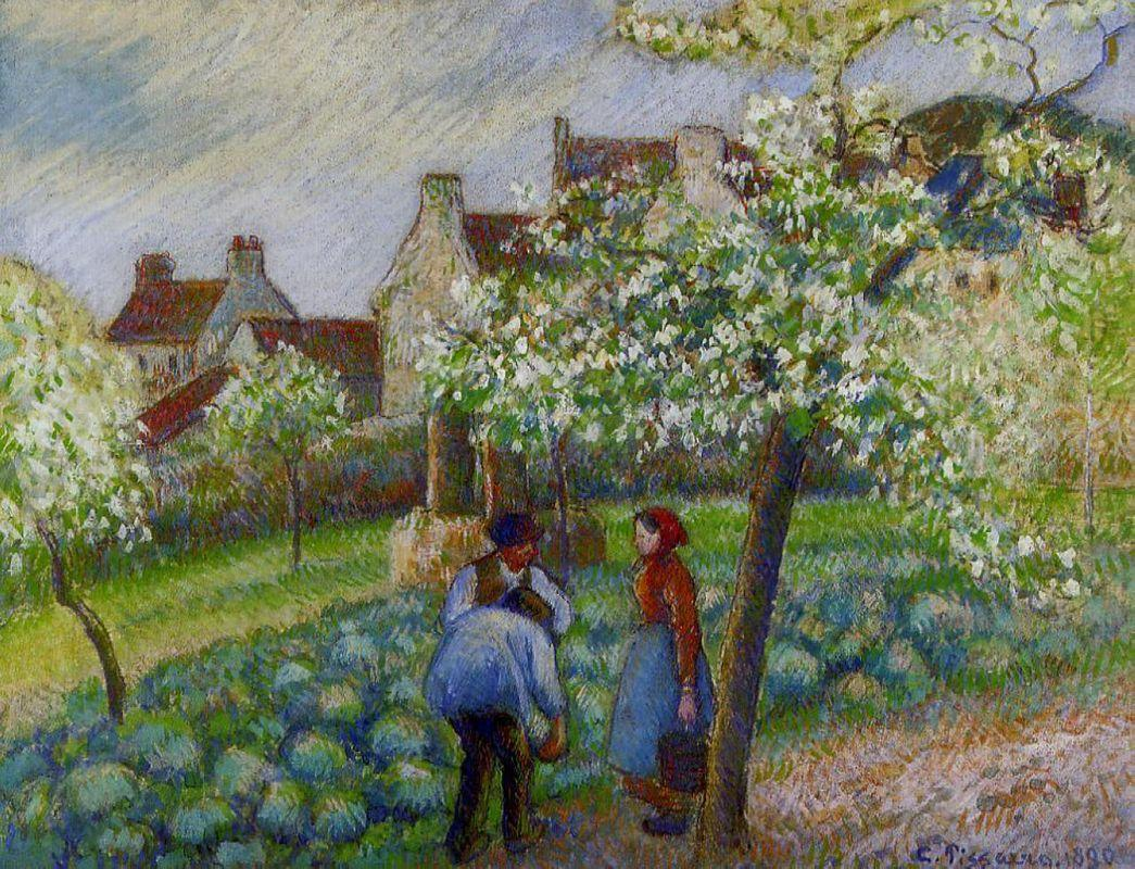 Flowering Plum Trees - Camille Pissarro