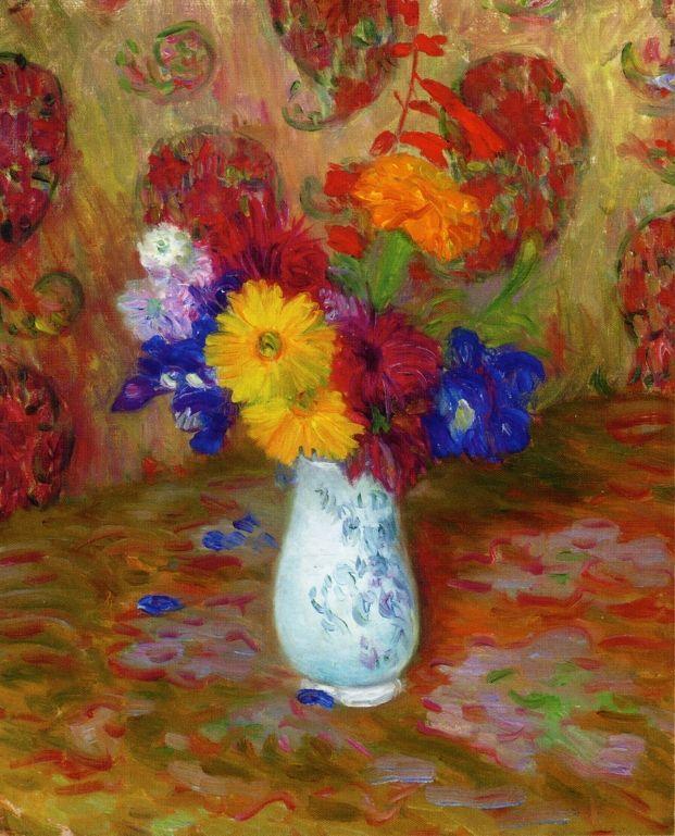 Flowers Against a Palm Leaf Pettern - William James Glackens