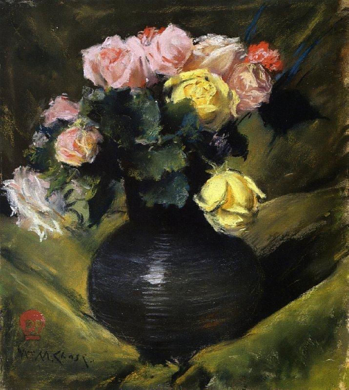 Flowers (aka Roses) - William Merritt Chase