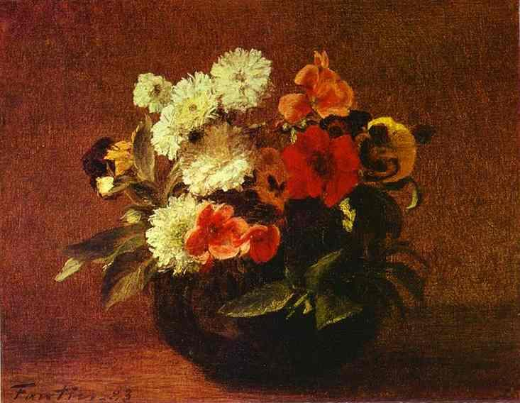 Flowers in an Earthenware Vase - Henri Fantin-Latour