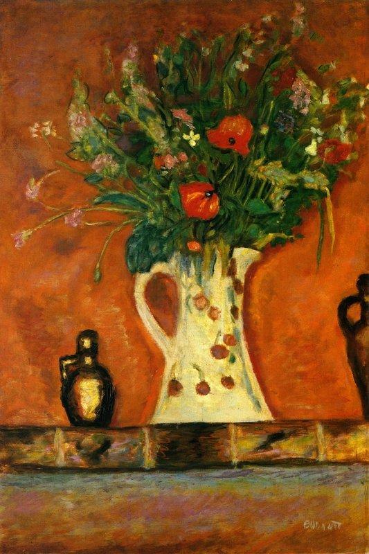 Flowers on a Mantlepiece - Pierre Bonnard