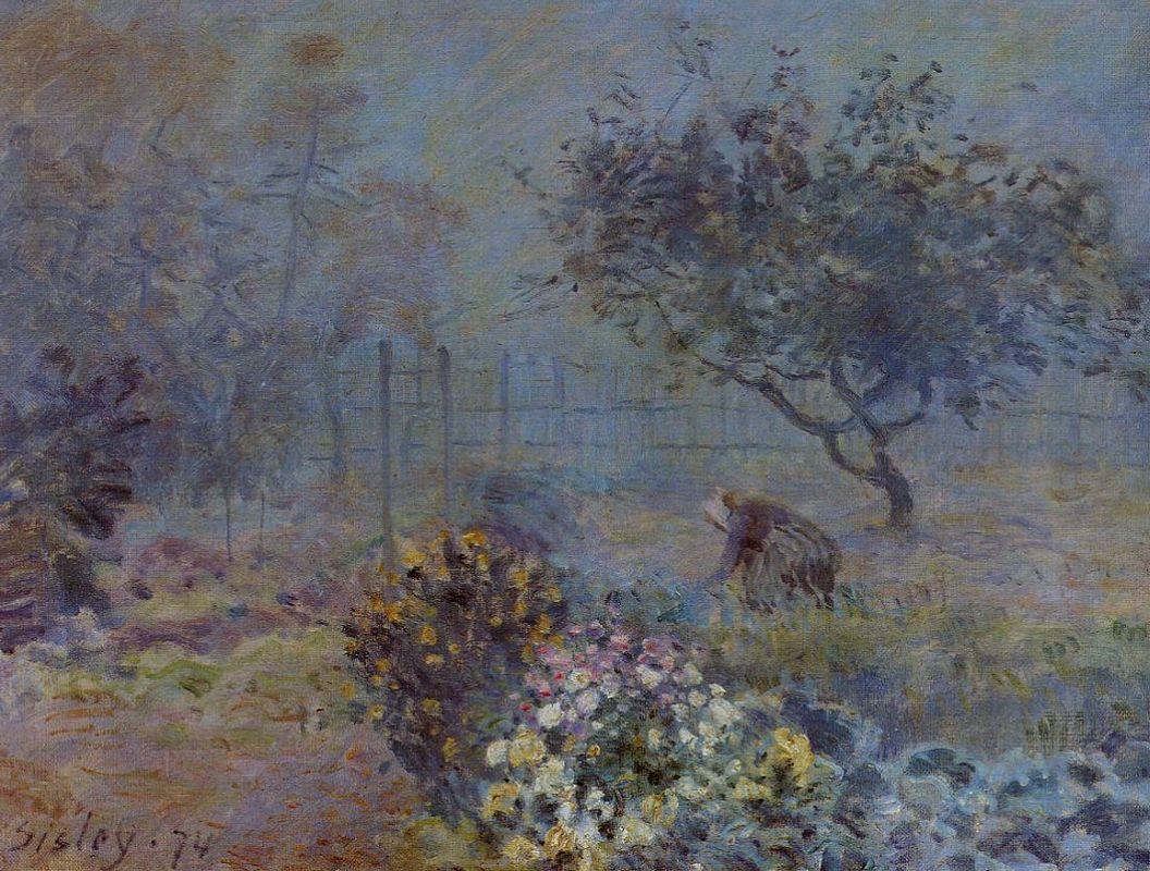 Foggy Morning, Voisins - Alfred Sisley