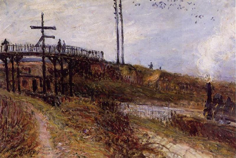Footbridge over the Railroad at Sevres - Alfred Sisley