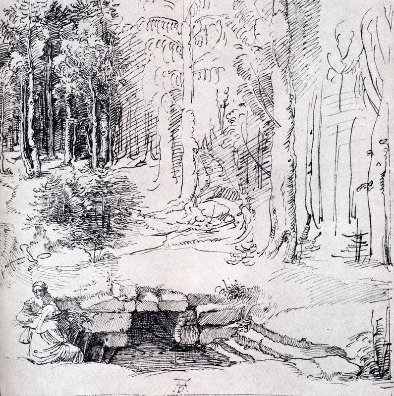 Forest Glade With A Walled Fountain By Which Two Men Are Sitting - Albrecht Durer