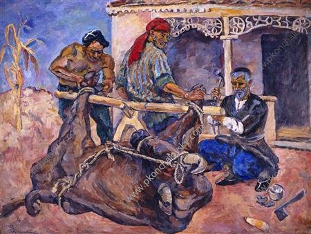 Forging of buffalo - Pyotr Konchalovsky