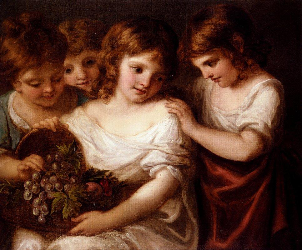 Four Children With A Basket Of Fruit - Angelica Kauffman