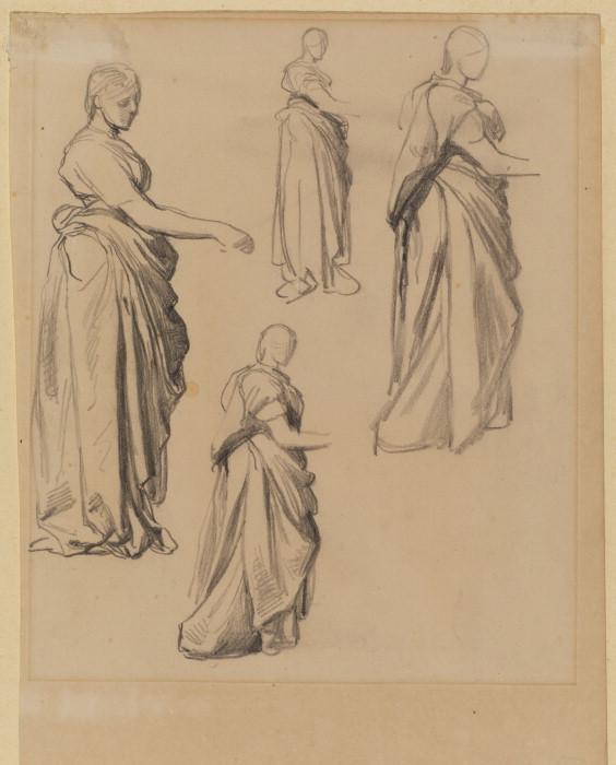 Four studies of a draped female figure - George Frederick Watts
