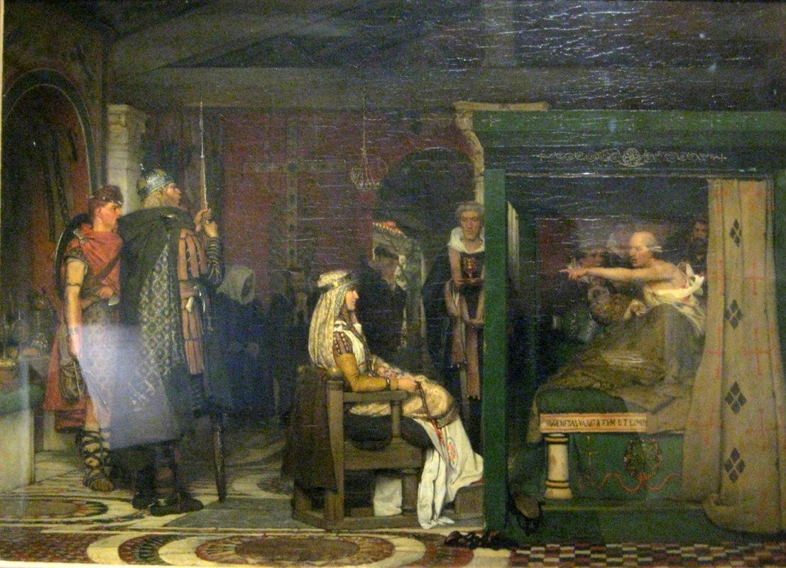 Fredegunda Praetextatus visit on his deathbed - Sir Lawrence Alma-Tadema