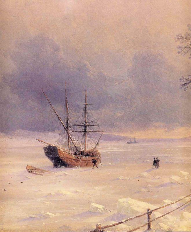 Frozen Bosphorus Under Snow - Ivan Aivazovsky
