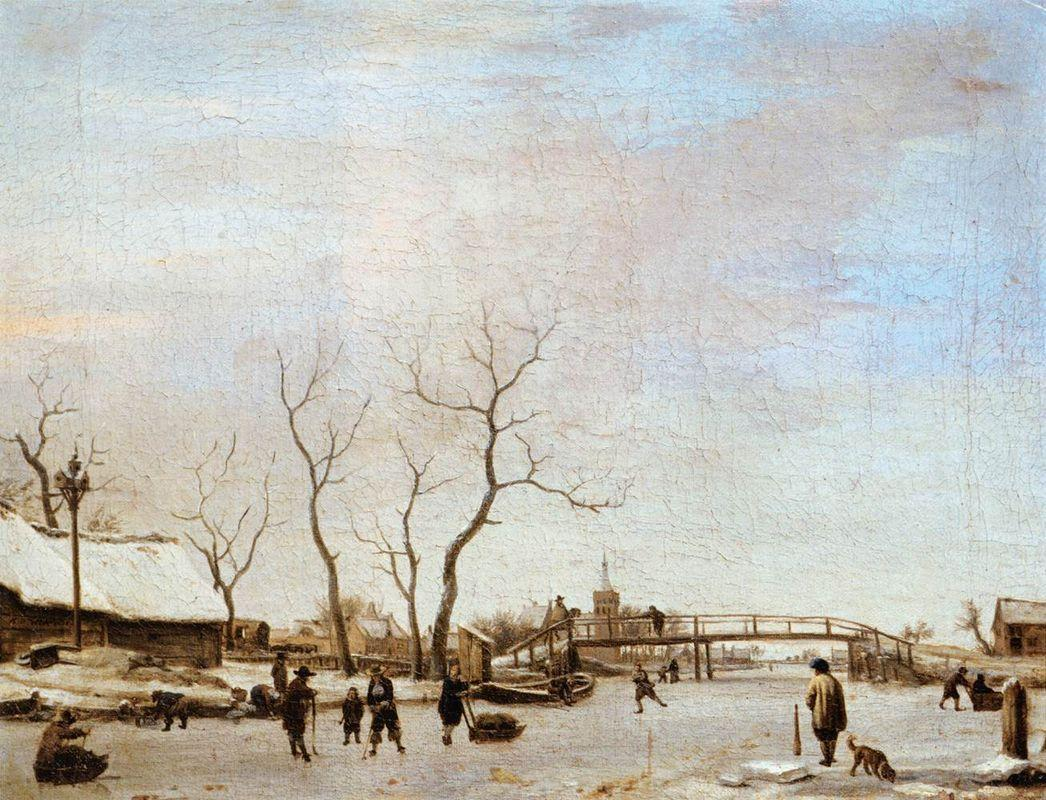 Frozen Canal with Skaters and Hockey Players - Adriaen van de Velde