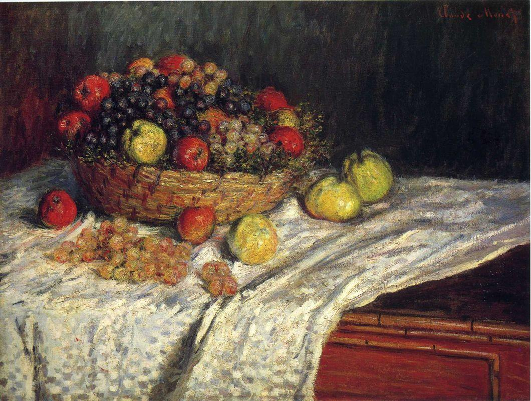 Fruit Basket with Apples and Grapes - Claude Monet