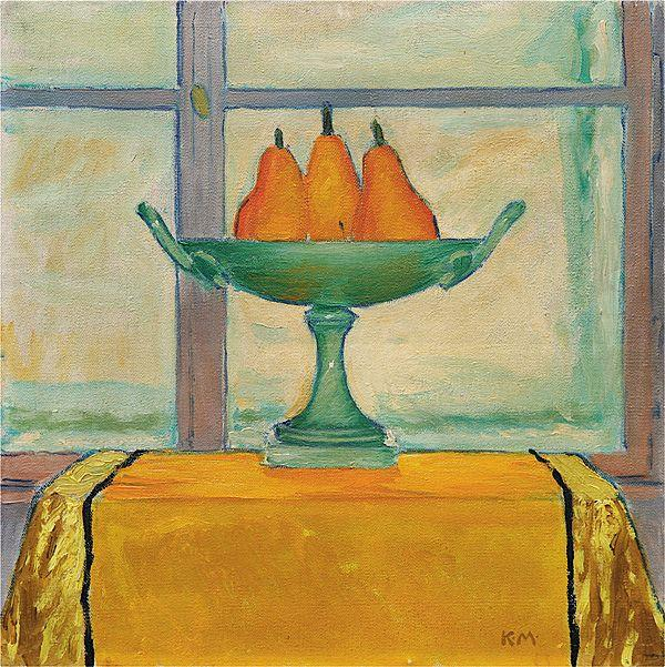 Fruit bowl with three red and yellow pears - Koloman Moser
