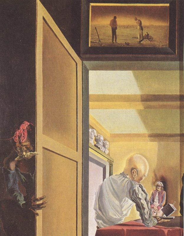 Gala and The Angelus of Millet Before the Imminent Arrival of the Conical Anamorphoses - Salvador Dali