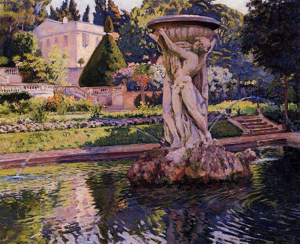 Garden with Villa and Fountain - Theo van Rysselberghe
