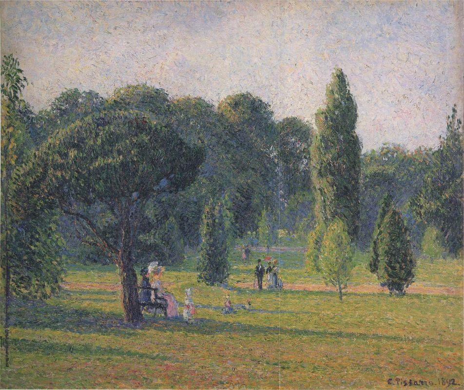 Gardens At Kew, Sunset - Camille Pissarro