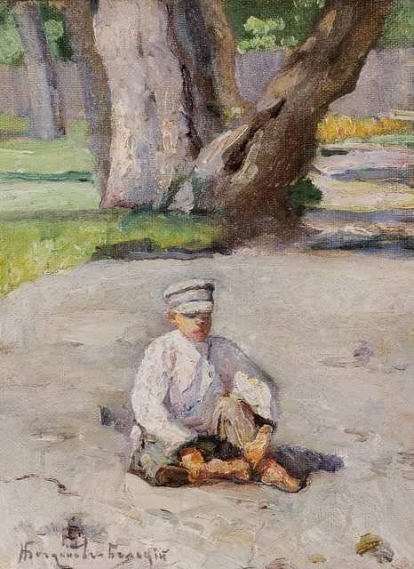 Garson sitting in front of a tree - Nikolay Bogdanov-Belsky
