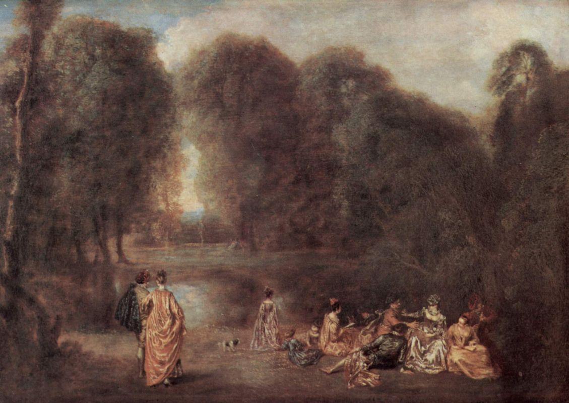 Gathering in the Park - Antoine Watteau