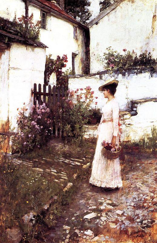 Gathering Summer Flowers in a Devonshire Garden - John William Waterhouse
